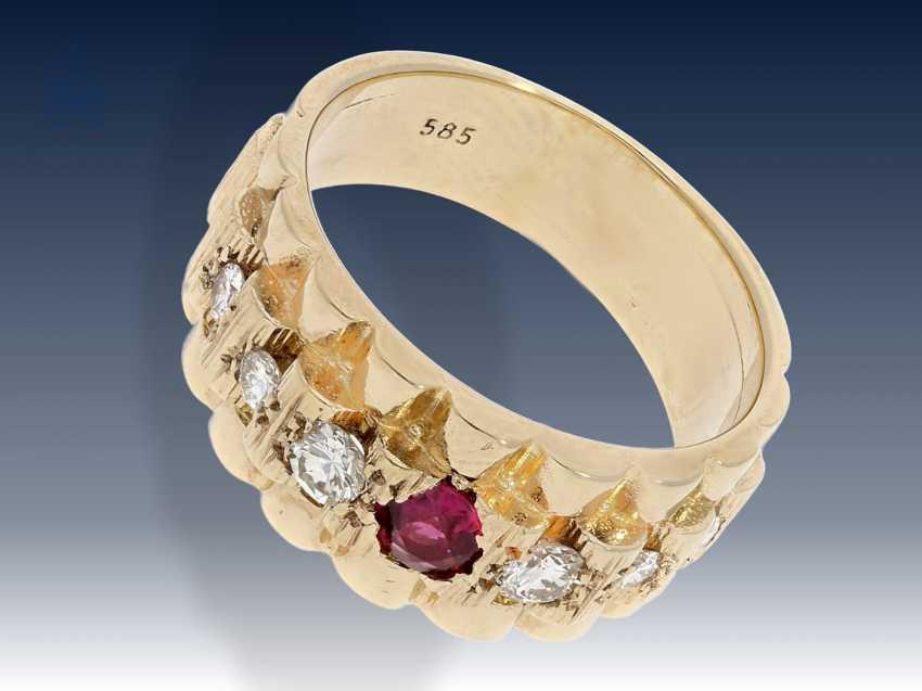 Ring: ausgefallener vintage Rubin/Brillant-Goldschmiedering im Rolex-Borke-Design der 80er Jahre - photo 1