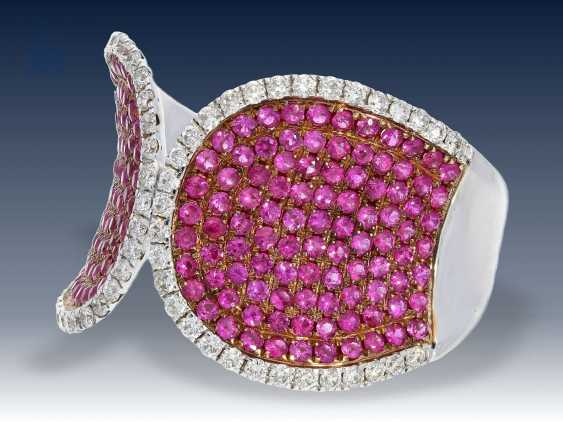 Ring: ausgefallener Saphir/Brillant-Designerring, 18K Weißgold - photo 2