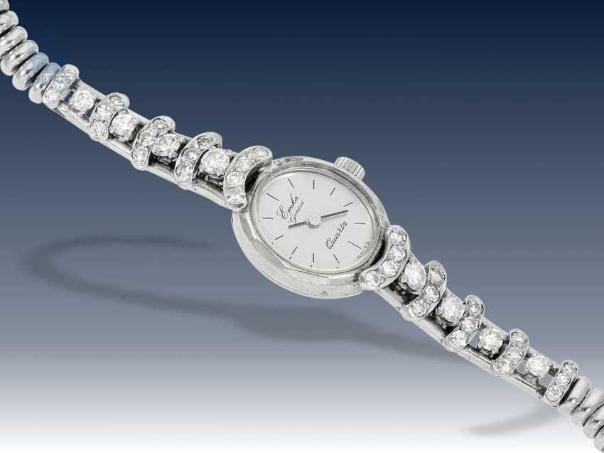 Armbanduhr: ausgefallene vintage Damenuhr mit Diamantbesatz, individuelle Goldschmiedeanfertigung, ca.1960 - photo 1