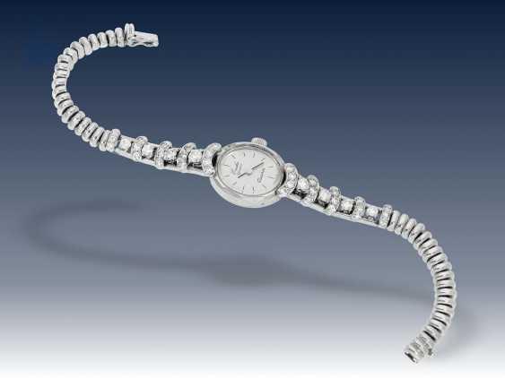 Armbanduhr: ausgefallene vintage Damenuhr mit Diamantbesatz, individuelle Goldschmiedeanfertigung, ca.1960 - photo 2