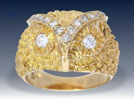 Ring: interessanter und ausgefallener vintage Diamant/Goldschmiedering mit der Darstellung eines Eulenkopfes, 18K Gold - photo 1