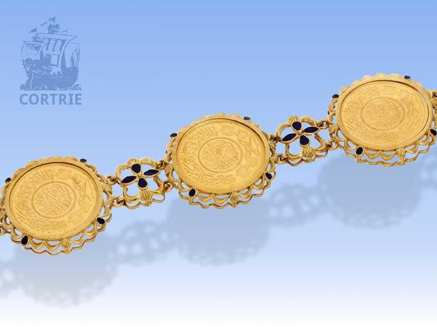 Armband: außergewöhnliches vintage Münzarmband, signiert Fabor, 18K Gold - photo 2
