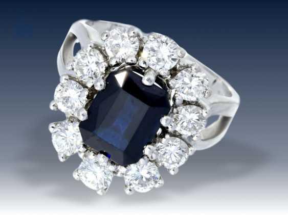 Ring: vintage Saphir/Diamant-Blütenring, sehr teure Goldschmiedeanfertigung, feiner Brillantbesatz von ca. 1,8ct - photo 1