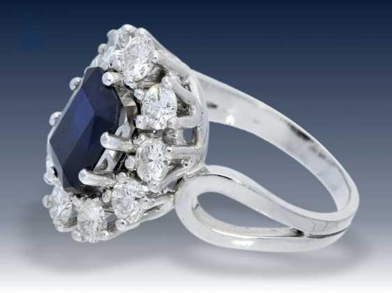 Ring: vintage Saphir/Diamant-Blütenring, sehr teure Goldschmiedeanfertigung, feiner Brillantbesatz von ca. 1,8ct - photo 2