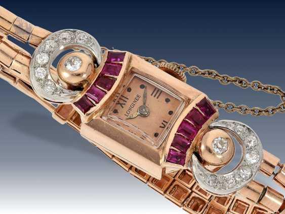 Armbanduhr: extrem seltene und dekorative rotgoldene Art déco Damenuhr von Longines, besetzt mit Rubinen und Diamanten, 40er Jahre - photo 3