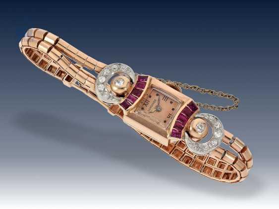 Armbanduhr: extrem seltene und dekorative rotgoldene Art déco Damenuhr von Longines, besetzt mit Rubinen und Diamanten, 40er Jahre - photo 4