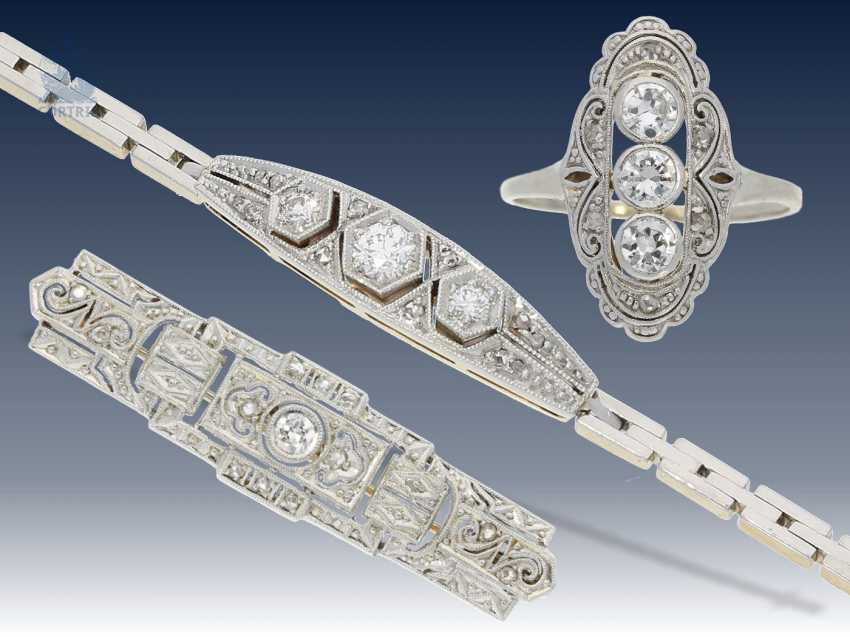 Armband/Brosche/Ring: interessantes Konvolut Antikschmuck, ca.0,8ct - photo 1