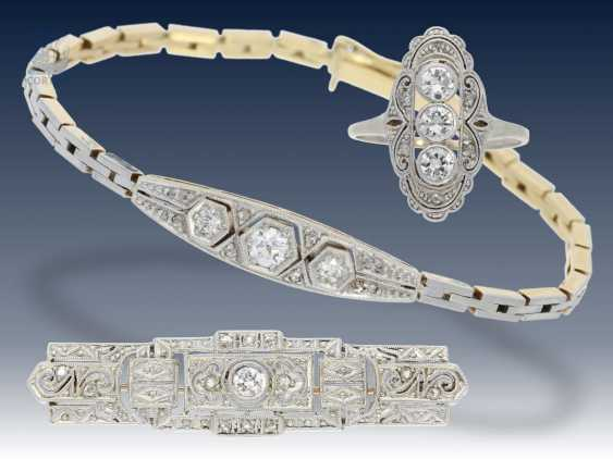 Armband/Brosche/Ring: interessantes Konvolut Antikschmuck, ca.0,8ct - photo 6
