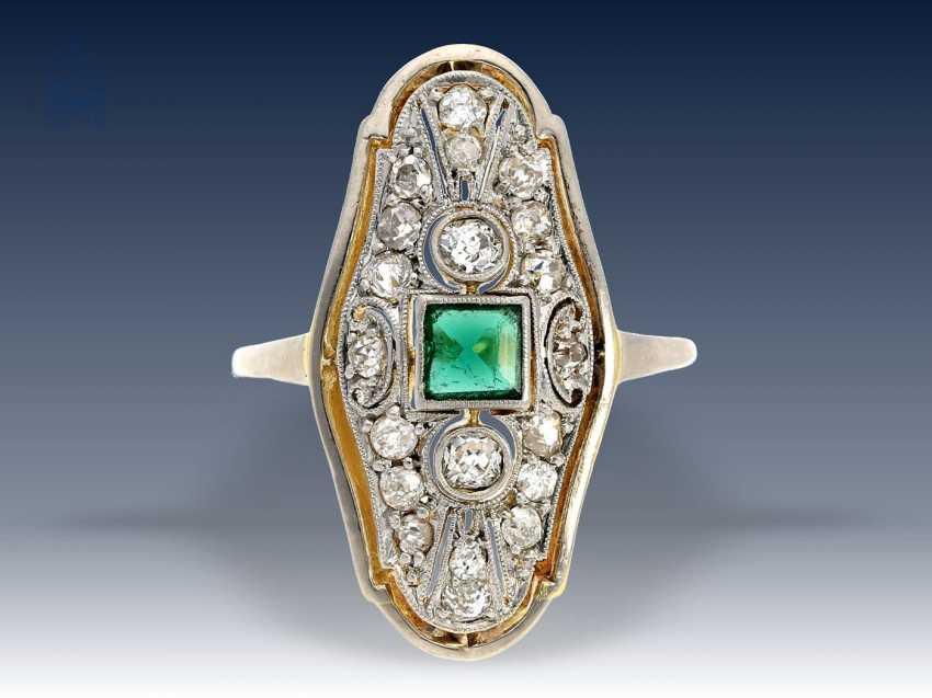 Ring: hochfeiner, antiker Damenring mit Turmalin/Diamantbesatz, vermutlich England um 1920 - photo 1