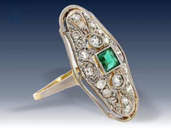 Ring: hochfeiner, antiker Damenring mit Turmalin/Diamantbesatz, vermutlich England um 1920 - photo 2