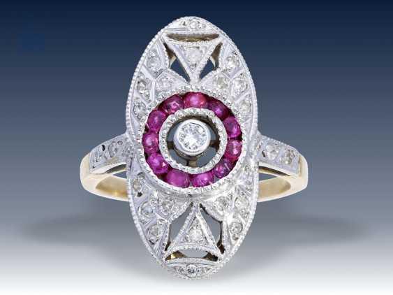 Ring: ausgesprochen schöner Art déco Rubin/Diamantring, ca. 1925 - photo 1