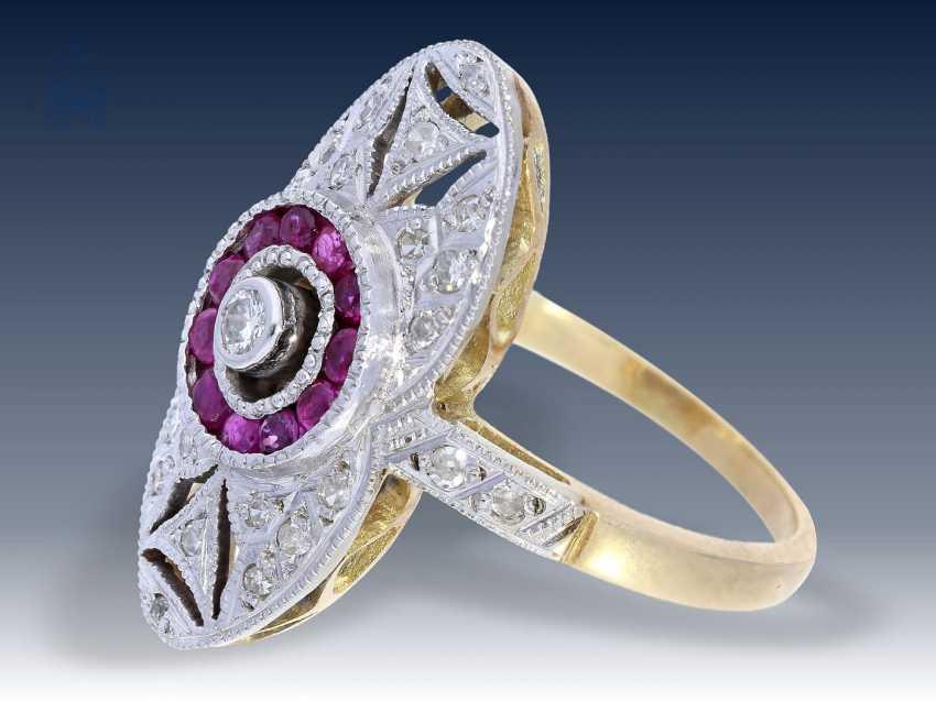 Ring: ausgesprochen schöner Art déco Rubin/Diamantring, ca. 1925 - photo 2