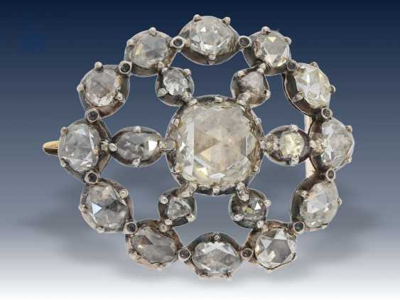 Brosche: seltene, feine antike Diamantbrosche, ca. 4ct Diamantrosen , 19. Jahrhundert - photo 1