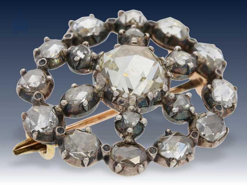 Brosche: seltene, feine antike Diamantbrosche, ca. 4ct Diamantrosen , 19. Jahrhundert - photo 2