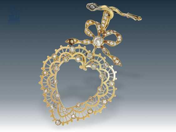 Anhänger: antiker, äußerst dekorativer und feiner Schleifen/Herzanhänger mit Diamantbesatz, 19. Jahrhundert - photo 1