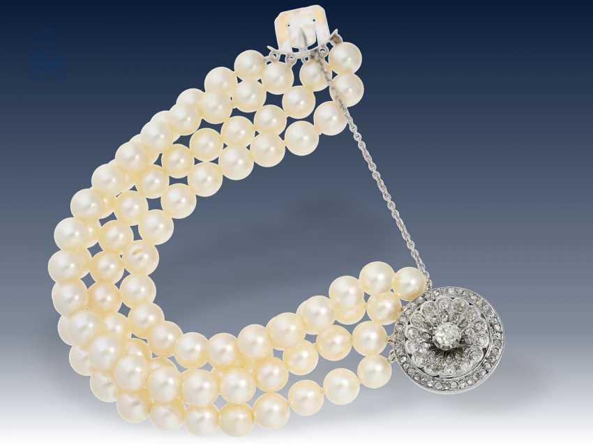 Armband: hochwertiges Akoya-Perlen-Armband mit antiker, wertvoller Diamantschließe - photo 1