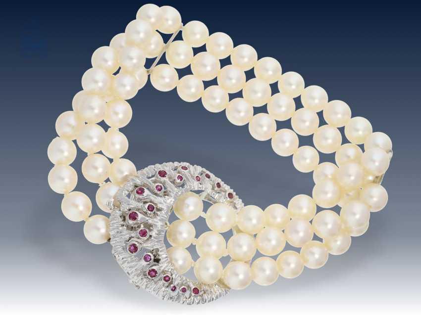 Armband: hochwertiges Zuchtperlenarmband mit vermutlich unikater Rubin-Prunkschließe - photo 2