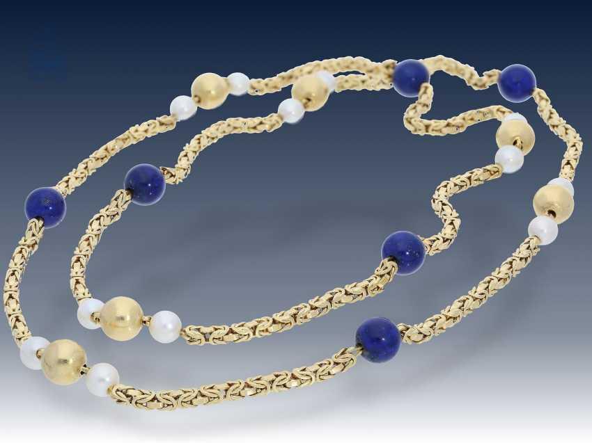 Kette: lange, äußerst dekorative und außergewöhnliche Perlen/Lapislazuli-Goldkette, Königsmuster in 18KGold - photo 1