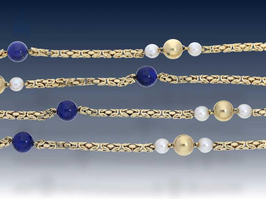 Kette: lange, äußerst dekorative und außergewöhnliche Perlen/Lapislazuli-Goldkette, Königsmuster in 18KGold - photo 2