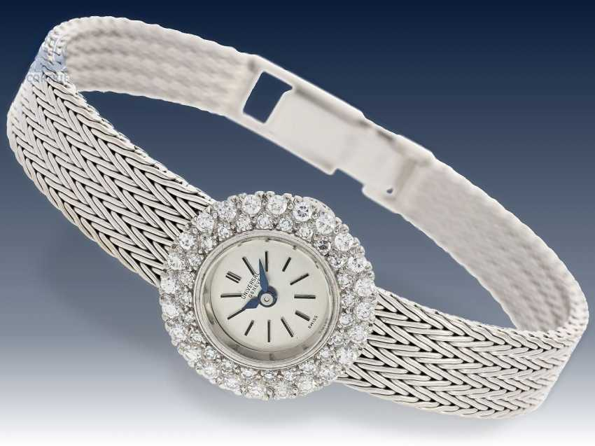 Armbanduhr: schwere vintage Damenuhr, feine Markenuhr von Universal Geneve, aus 18K Weißgold - photo 2