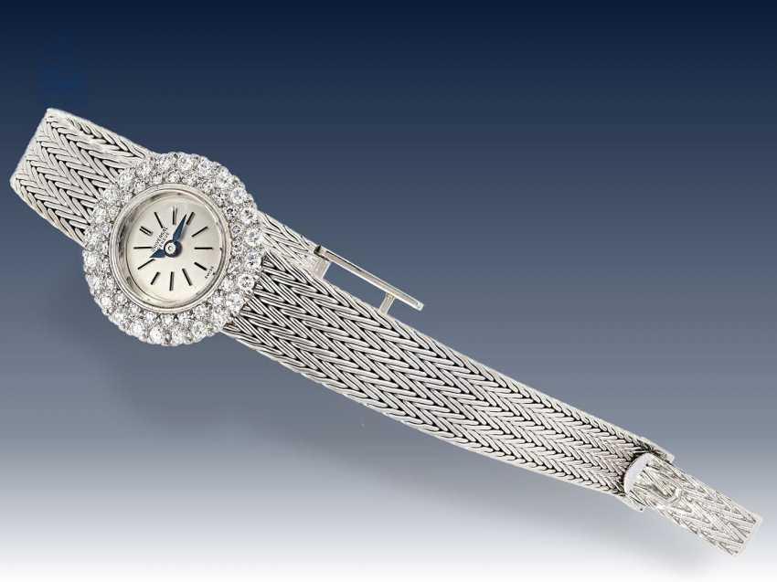Armbanduhr: schwere vintage Damenuhr, feine Markenuhr von Universal Geneve, aus 18K Weißgold - photo 3