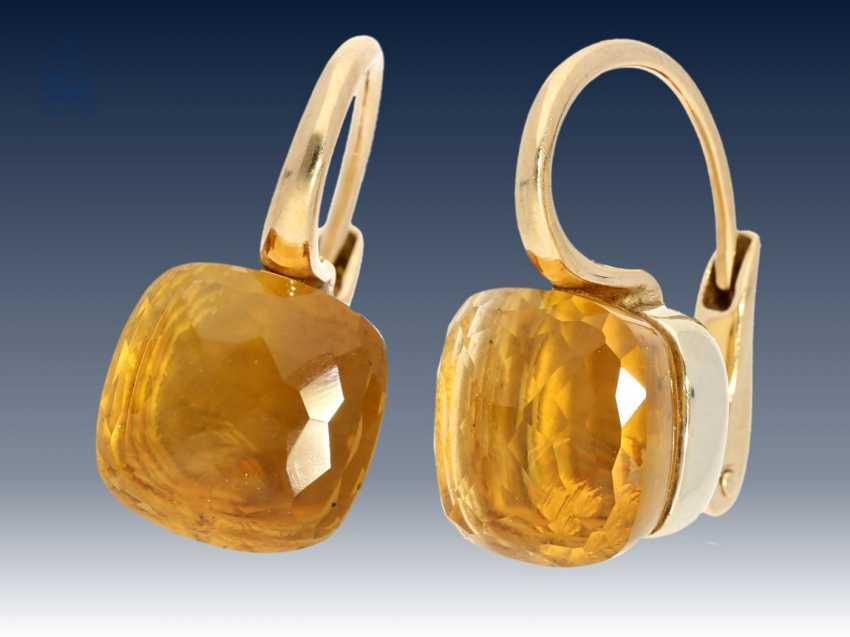 """Ohrringe: elegante und hochwertige Citrin-Ohrringe, Markenschmuck von Pomellato """"Nudo"""", 18K Gold, NP 3800€, mit Originalbox - photo 3"""