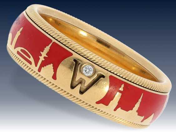 """Ring: hochfeiner Wellendorff Gold/Emaillering Drehring """"HAMBURG"""", limitiert auf 125 Stück, Markenschmuck aus 18K Gold - photo 1"""