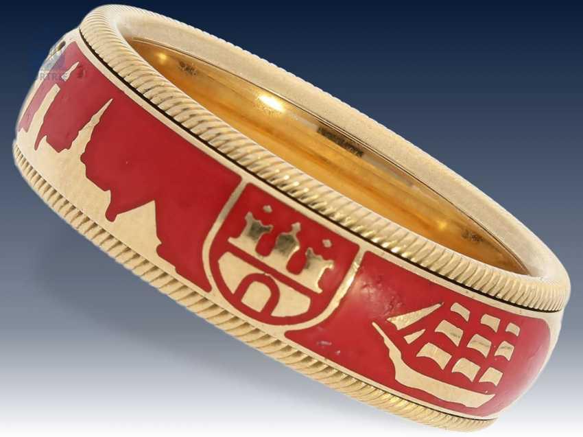 """Ring: hochfeiner Wellendorff Gold/Emaillering Drehring """"HAMBURG"""", limitiert auf 125 Stück, Markenschmuck aus 18K Gold - photo 2"""
