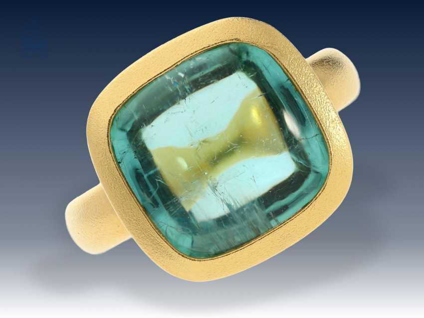 Ring: neuwertiger, ehemals sehr teurer Goldschmiedering mit großem Turmalin von 13,3ct, erstklassige Handarbeit - photo 2
