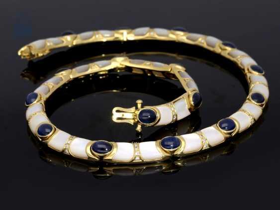 Kette/Collier: sehr dekoratives und außergewöhnliches Goldschmiede-Collier mit Saphiren, Brillanten und Perlmutt - photo 1