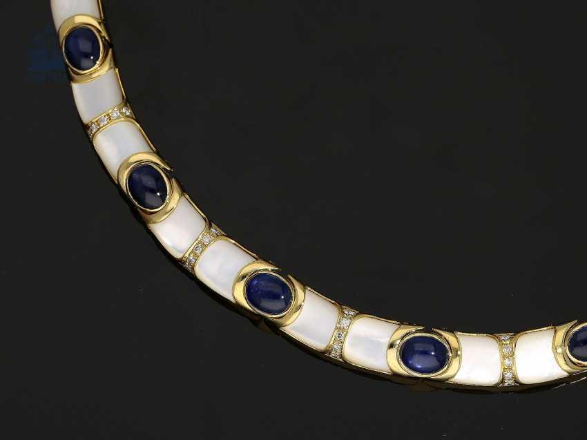 Kette/Collier: sehr dekoratives und außergewöhnliches Goldschmiede-Collier mit Saphiren, Brillanten und Perlmutt - photo 2