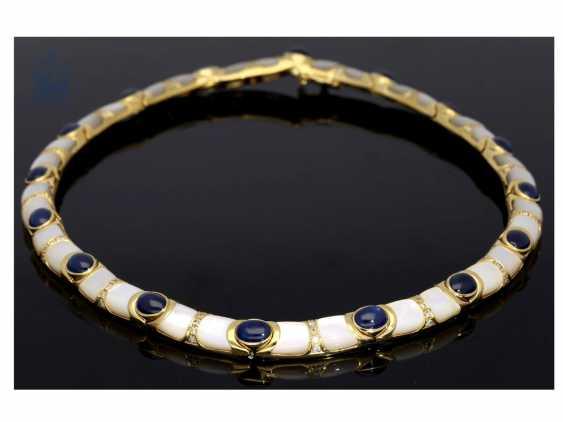 Kette/Collier: sehr dekoratives und außergewöhnliches Goldschmiede-Collier mit Saphiren, Brillanten und Perlmutt - photo 3