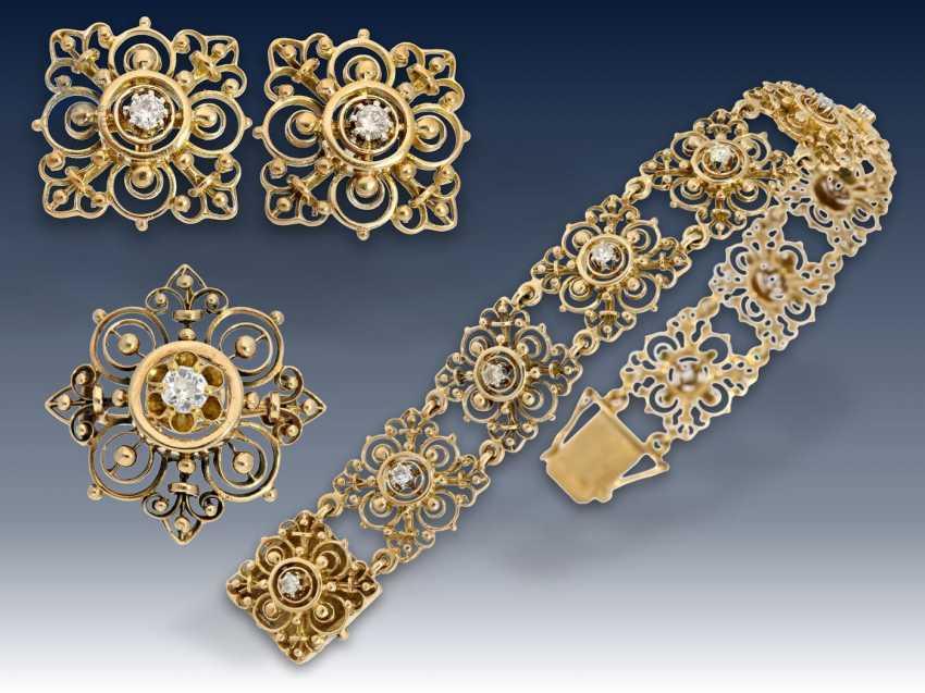 Armband/Ohrschmuck: äußerst dekoratives vintage Goldarmband mit Brillantbesatz sowie passendem Ohrschmuck und dazugehöriger Brosche, 50er Jahre - photo 1