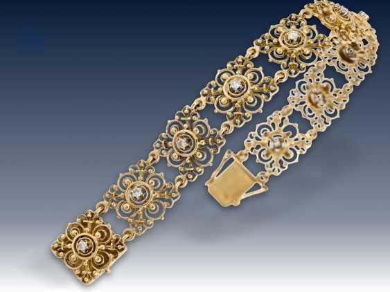 Armband/Ohrschmuck: äußerst dekoratives vintage Goldarmband mit Brillantbesatz sowie passendem Ohrschmuck und dazugehöriger Brosche, 50er Jahre - photo 3
