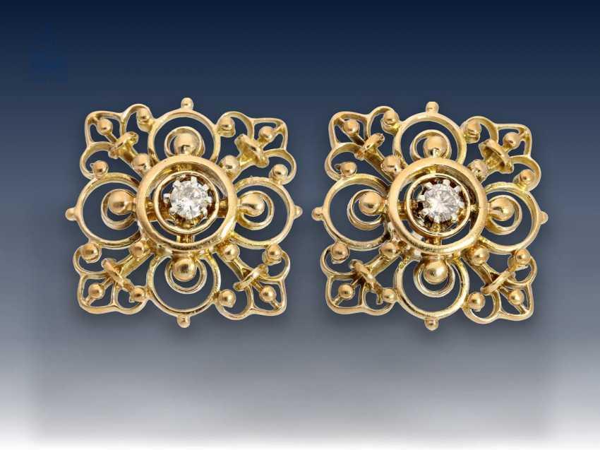Armband/Ohrschmuck: äußerst dekoratives vintage Goldarmband mit Brillantbesatz sowie passendem Ohrschmuck und dazugehöriger Brosche, 50er Jahre - photo 4