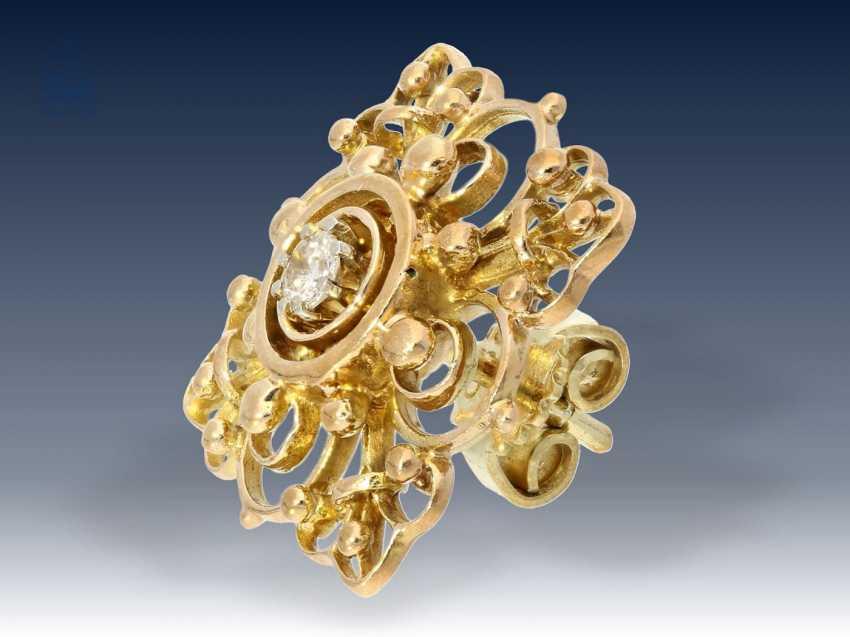 Armband/Ohrschmuck: äußerst dekoratives vintage Goldarmband mit Brillantbesatz sowie passendem Ohrschmuck und dazugehöriger Brosche, 50er Jahre - photo 6