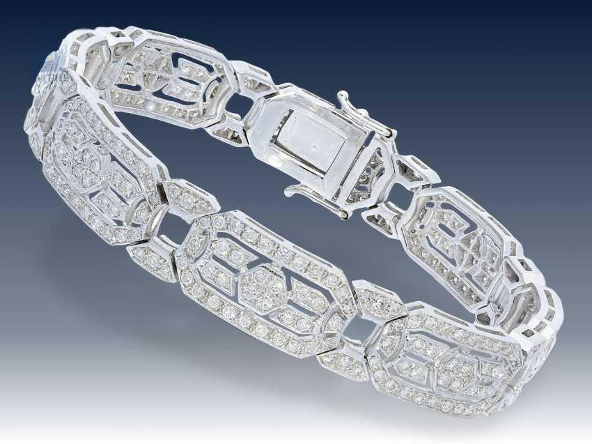Armband: hochwertiges Brillant-Armband im Stil des Art déco, ca. 5ct Brillanten in Spitzenqualität - photo 1