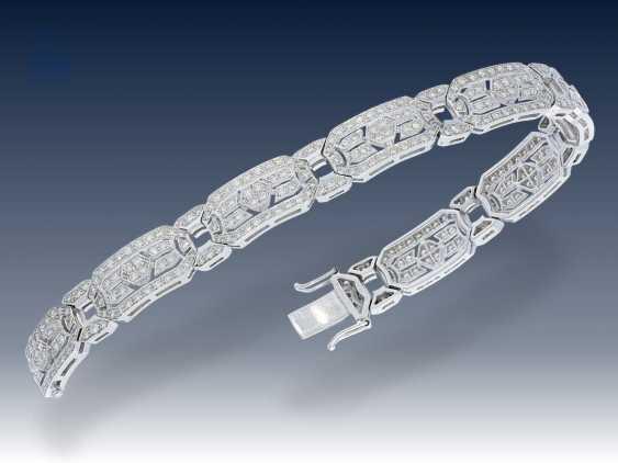 Armband: hochwertiges Brillant-Armband im Stil des Art déco, ca. 5ct Brillanten in Spitzenqualität - photo 2
