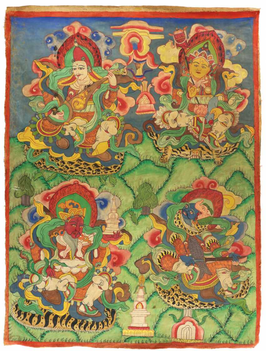 Thangkas with four sky gods - photo 1