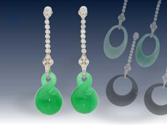 Ohrschmuck: sehr hochwertige Goldschmiede-Brillant-Ohrringe mit Wechselsteinen, Art déco Stil - photo 1