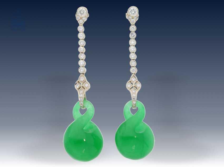 Ohrschmuck: sehr hochwertige Goldschmiede-Brillant-Ohrringe mit Wechselsteinen, Art déco Stil - photo 3
