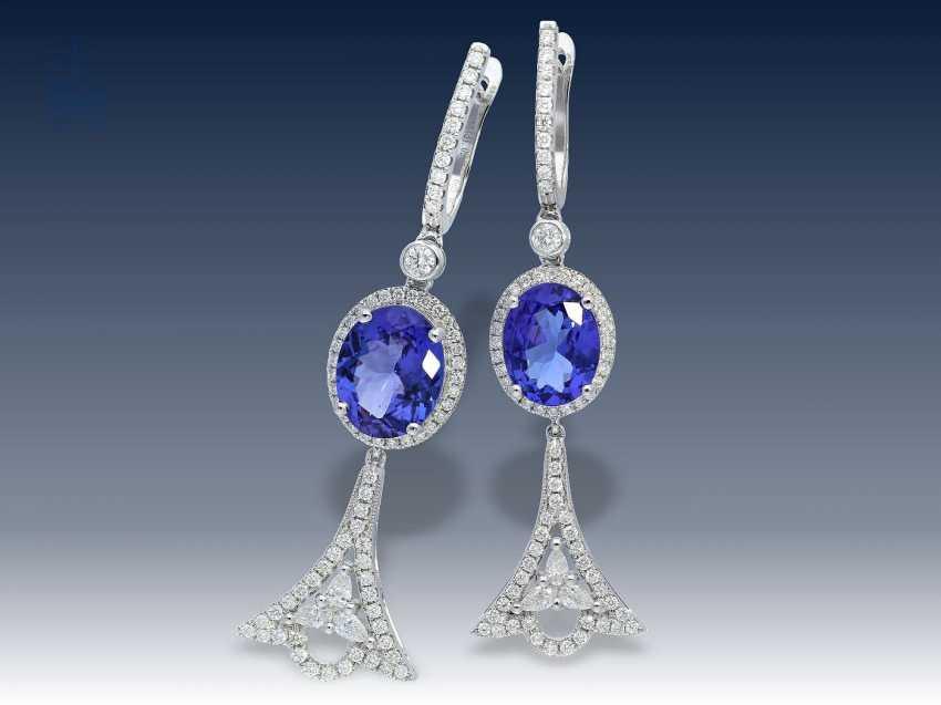 Ohrringe: neuwertige und ungetragene exklusive Tansanit/Brillantohrringe in Spitzenqualität, aus Juweliersauflösung - photo 1