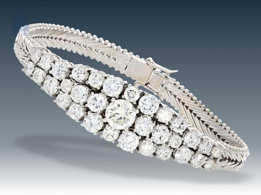 Armband: außergewöhnliches, ehemals sehr teures Brillant-Armband, 18K Weißgold, ca. 5,5ct - photo 3