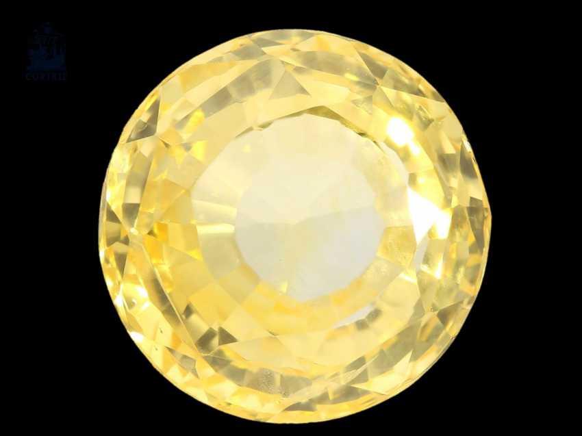 Saphir: natürlicher, unbehandelter gelber Ceylon-Saphir von 9,79ct mit Original-Zertifikat von 1986, Herkunft Ceylon - photo 1