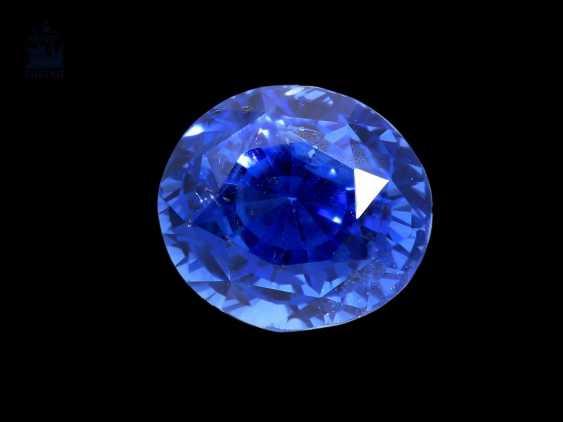 Saphir: sehr schöner natürlicher Saphir von 3,18ct mit Zertifikat, Herkunft Ceylon - photo 1