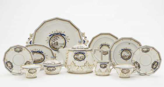 Tea set FOR FOUR PERSONS, 17 PARTS of Nymphenburg, mostly from 1975 to 1997 according to the model by Dominikus Auliczek - photo 1