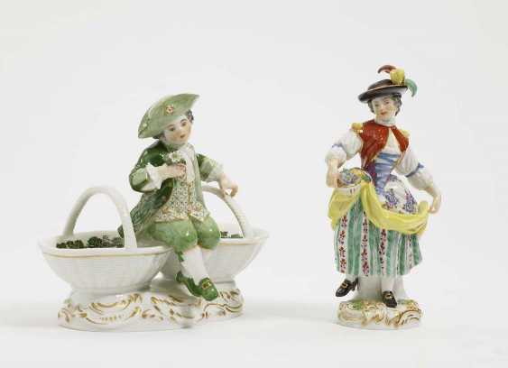 Gardener's child WITH BASKET AND BOY ON double condiment dish Meissen - photo 1