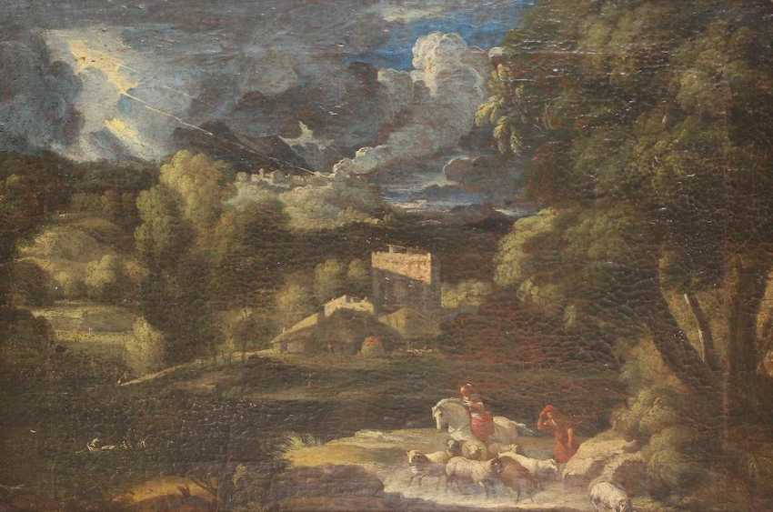 Thunderstorm landscape with shepherds - photo 1