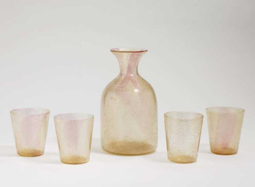 CARAFE WITH FOUR CUPS, Probably Barovier - photo 1