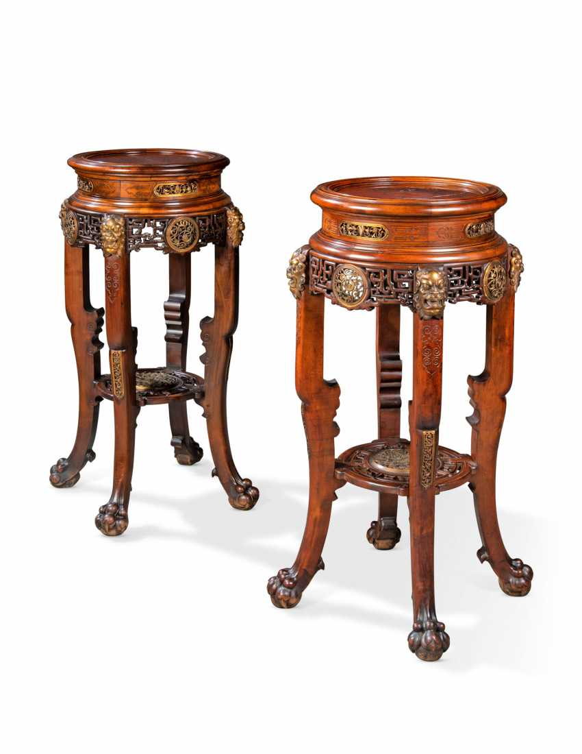 A PAIR OF FRENCH ORMOLU-MOUNTED MAHOGANY 'JAPONISME' STANDS - photo 1